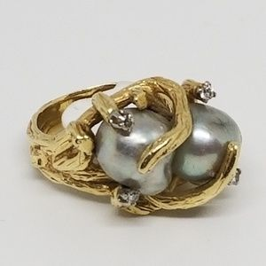Vintage 14k Gold South Sea Pearl and Diamond Ring